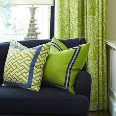 Royal Blue and Lime Green create good complements for a bright living space.