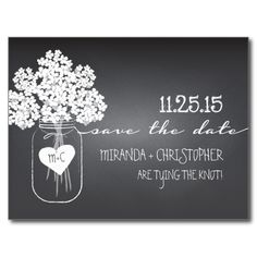 Shop Chalkboard Mason Jar Save the Date Postcard created by kat_parrella. Personalize it with photos & text or purchase as is! Chalkboard Wedding Invitations, Save The Date Invitations, Save The Date Postcards, Wedding Invitation Sets, Save The Date Cards, Wedding Stationery, Invites, Invitation Cards, Chalkboard Mason Jars