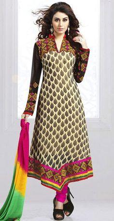USD 33.53 Off White Georgette Designer Salwar Kameez 43318