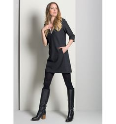 Jurk met contrast kraag #Polyester #Viscose #Dress #Gigue #AW16 #FallCollection #NewArrivals #GigueAW16