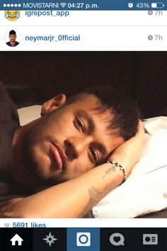 Neymar Junior ! Love him! Caught him sleeping #bouttosleep #selfie'