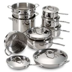 Cuisinart® Stainless Steel 17-Piece Cookware Set - BedBathandBeyond.com