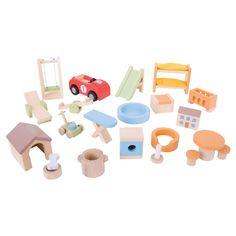 Bigjigs Toys Wooden Home & Garden Dollhouse Furniture Set
