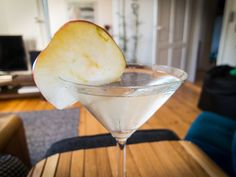 Gin Martini with Williams Chase Elegant Crisp Gin, Martini Dry Vermouth and apple garnish