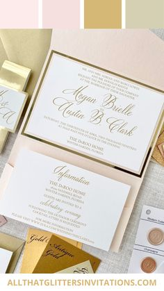 Invitations, Wedding, Gold and Blush Whimsical Wedding Invitations, Monogram Wedding Invitations, Glitter Invitations, Blush Wedding Theme, Pink And Gold Wedding, Pocketfold Invitations, Gold Weddings, Wedding Inspiration, Wedding Ideas