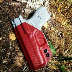 Glock 42 Concealer in Blood Red Carbon Fiber.  #kobrakydexgear #concealer #kydex #holster #carbonfiber #iwb #concealment #concealedcarry #edc #glock #glock42