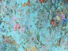 Купить Цветной гипюр на вязаном полотне - голубой, гипюрное кружево, гипюр, гипюр на трикотаже