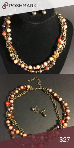 Pearls Necklace Set Fresh water pearl necklace nicely combined with crystals and copper chain creates along with earrings unforgettable set. Jewelry Necklaces