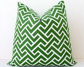 """Trellis Geometric Designer Pillow 18"""" Olive Green White Accent Cushion Cover hollywood regency imperial trellis Fall moss green lacefield. $40.00, via Etsy."""