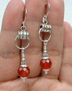 Pretty-Faceted-Red-Carnelian-Sterling-Silver-Earrings-Leverbacks-A0124
