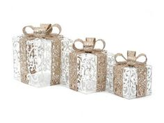Christmas Parcel Gift Box Glitter Decoration Silver & Antique Gold SM Med Lge Set of 3 Glass Christmas Baubles, Silver Christmas Decorations, Holiday Decor, Gold Set, Antique Gold, Glitter, Antiques, Gifts, Box