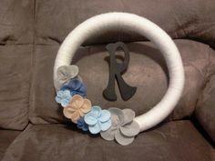 Yarn & felt monogram wreath