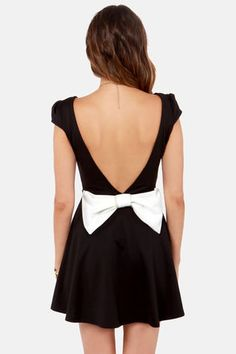 343d79aa8a0 Cute Flare Dress - Backless Dress - Black Dress - Bow Dress -  41.00 Dress  With