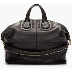 GIVENCHY Large Black Leather Studded Nightingale Duffle Bag ($2,500) ❤ liked on Polyvore