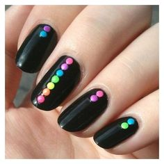 17. Neon Dots on Black Nails 23 ❤ liked on Polyvore featuring beauty products and nail care