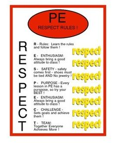 This is a great character lesson in physical education to teach about the word RESPECT, and how it implies in your classroom.