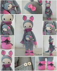 KIRA the kangaroo made by Carolien / crochet pattern by lalylala Crochet Patterns Amigurumi, Crochet Dolls, Crochet Stitches, Knitting Patterns, Cute Crochet, Beautiful Crochet, Crochet Animals, Handmade Toys, Doll Patterns