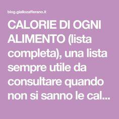 CALORIE DI OGNI ALIMENTO (lista completa), una lista sempre utile da consultare quando non si sanno le calorie di un determinato alimento!