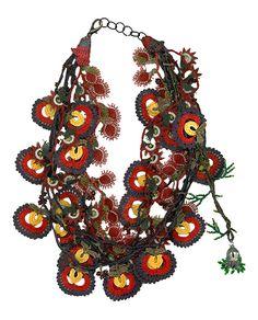 """Necklace - Hülya Özer    Oya needle crocheted necklace by Hülya Özer.    Dimensions: 24"""" long  Price: 295.00    http://www.textilemuseumshop.org"""