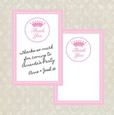 Princess Party Thank You Cards INSTANT DOWNLOAD
