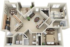 The Paris > This layout is rather odd, but it does make this apartment appear to be bigger.