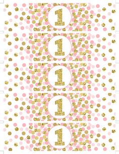 Pink and Gold Water Bottle Labels First Birthday por EllenPrintable
