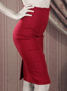 Pinup Clothing | Broad Minded High Waisted Pencil Skirt with Waist Cincher in Cranberry Red