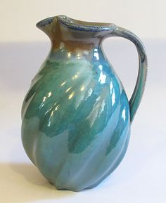 Twist Fluted Pitcher with Turquoise Glaze by VoorheesPottery, $110.00
