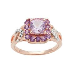 18k Rose Gold Over Silver Rose de France Amethyst & Lab-Created White Sapphire Square Ring, Women's, Size: