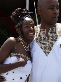Love the idea of a African fabric trim on the dress. the ca use the same fabric for tie or other deco. African American Weddings, African Weddings, African Traditional Wedding, Traditional Weddings, Ethnic Wedding, Kenyan Wedding, African Wedding Attire, African Princess, Ebony Love