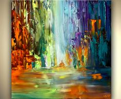 "ORIGINAL Signed Modern Palette Knife Textured Abstract Painting on Canvas Cityscape by OSNAT 30""x30"". $420.00, via Etsy."