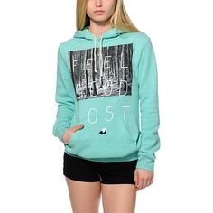 Roam free to wherever your heart takes you and Feel Good Lost in this Glamour Kills Feel Good Lost hoodie. With an adjustable drawstring hood, kangaroo front pocket, long sleeves, and soft fleece interior, this bright Mint sweatshirt is ready for an adven