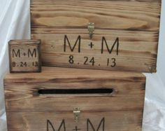 Rustic Wedding Box Set Card Wine Ceremony Ring Bearer Keepsake Wood burned Personalized Custom Country Barn style