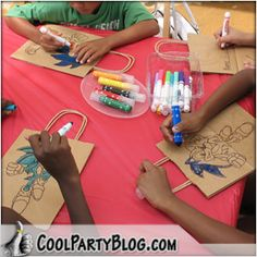 Party Craft Idea- Trace Character on Bags, Let kids color. They can use these bags for goodies come piñata time:)