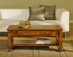 Add some style to your living room with the Altra Summit Mountain Wood Veneer Coffee Table. This beautiful Coffee Table features real wood veneer construction and solid wood legs. The large smooth t. Coffee Table With Drawers, Coffee Table Rectangle, Oak Coffee Table, Rustic Coffee Tables, Cool Coffee Tables, Oak Table, Living Room Furniture, Living Room Decor, Garden Furniture