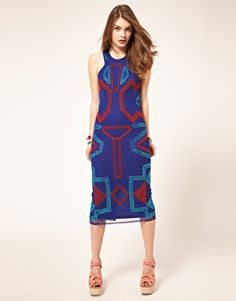 midi dress with beading blue and red