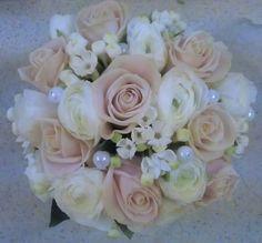 Wedding Flowers. Peaches and Pearls. www.facebook.com/flowerpotpontyclun