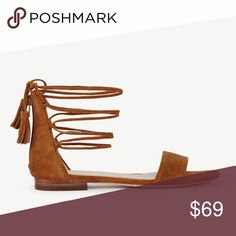 """💐Price Drop💐 Ann Taylor Suede Laceup Flats Brand new; never been worn. Size 8.5. Ankle ties with tassels at ends. Back zip. 1/2"""" heel. Ann Taylor Shoes Sandals"""