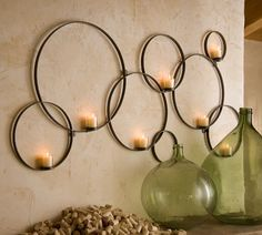 Shop circles wall-mount votive holder from Pottery Barn. Our furniture, home decor and accessories collections feature circles wall-mount votive holder in quality materials and classic styles. Candle Wall Decor, Diy Wall Decor, Candle Sconces, Diy Home Decor, Wall Decorations, Iron Wall Decor, Unique Wall Decor, Decor Room, Bedroom Decor