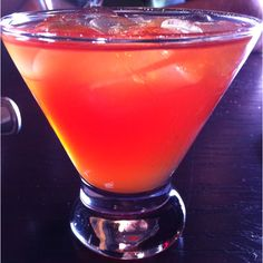 Swedish Berry Martini from Crabby Joes. 1 part red Sour Puss 1 part banana liquere 1 part cranberry juice 1 part Sprite Mix it up or blend it up. Makes for a delicious summer drink!