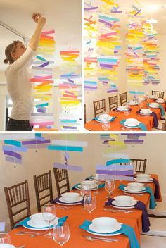 Colorful mobiles- A bright, happy, fun, CHEAP party decoration!
