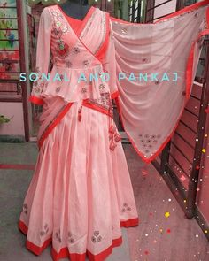 For the very first time Sonal and Pankaj presenting gotta patti lehenga with peplum jacket blouse and heavy gotta patti duptta.in peach and coralColor customization available Whatsapp 919669166763 26 February 2018 Half Saree Designs, Saree Blouse Neck Designs, Fancy Blouse Designs, Saree Blouse Patterns, Indian Designer Outfits, Indian Outfits, Designer Dresses, Gota Patti Lehenga, Choli Dress
