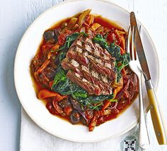 Seared steak with celery & pepper caponata. Serve lean fillet steak with a rich, Italian-style pepper, olive and caper sauce and wilted spinach