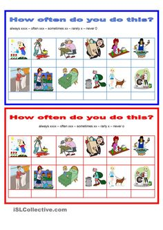 Adverbs - Frequency - How often - household chores -  pairwork
