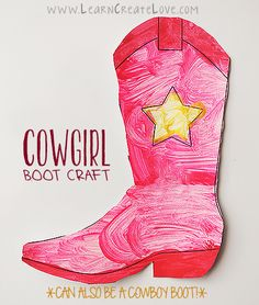 Printable Cowboy/Cowgirl Boot Craft | LearnCreateLove.com