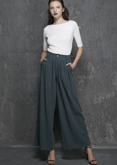 Green linen pants maxi pants women pants 1338 by xiaolizi on Etsy