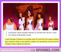 The 5 sassy ladies from Hercules will read my life story. #disney