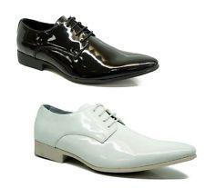 MEN Formal Smart Lace UP White Black Shiny Wedding Patent Shoes UK Size 6 7 8 9 | eBay
