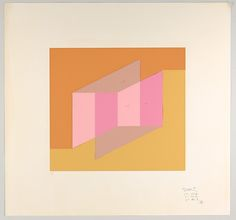 Josef Albers. Untitled (for Never Before), Silkscreens with Collage Maquette. 1975.  warm brown, yellow-brown, 2 pinks, pinkish brown.