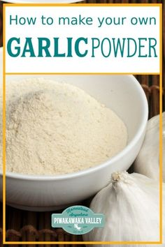 Do you have a lot of spare garlic and not sure how to preserve it so that it lasts? Have you thought about making garlic powder with it? Here are full step by step instructions, plus what you can use your dried garlic for. Dehydrated Vegetables, Dehydrated Food, Veggies, Homemade Spices, Homemade Seasonings, Dehydrator Recipes, Food Processor Recipes, Canning Recipes, Recipes